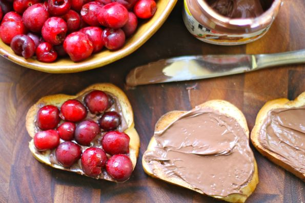toast + spread + tear cherries with your hands