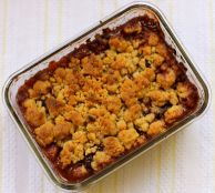 The finished cobbler, browned and bubbly!
