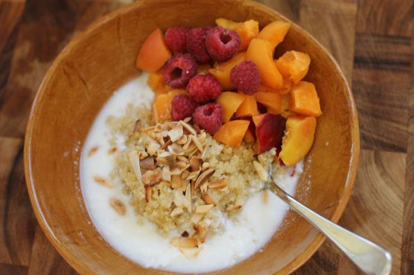 Breakfast Quinoa with Apricots + Nectarines + Raspberries