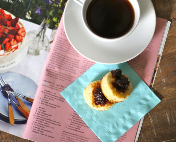 cherry biscuits + coffee + mag = good