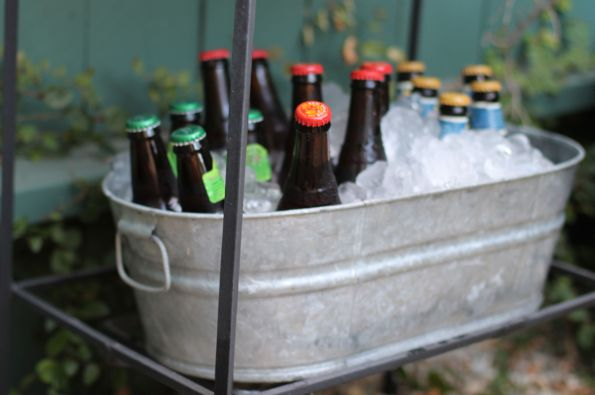 galvanized tub with beer