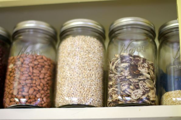 top shelf with jars
