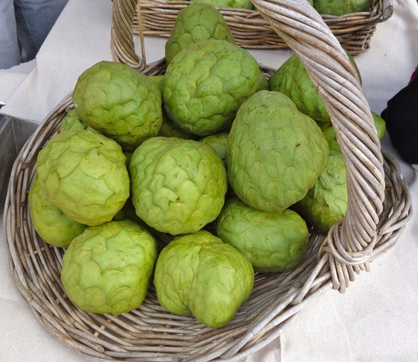"Basket of ""Lisa"" variety cherimoya from Rincon Del Mar Ranch, grown by farmer Anthony Brown and family."