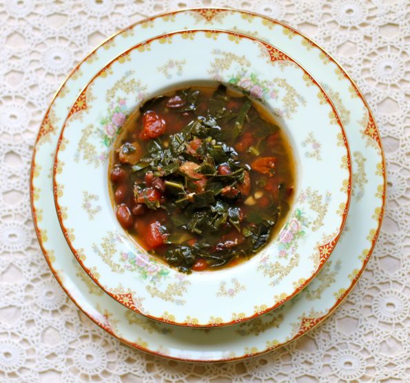 Smoky Bean + Collard Green Soup with Andouille Sausage