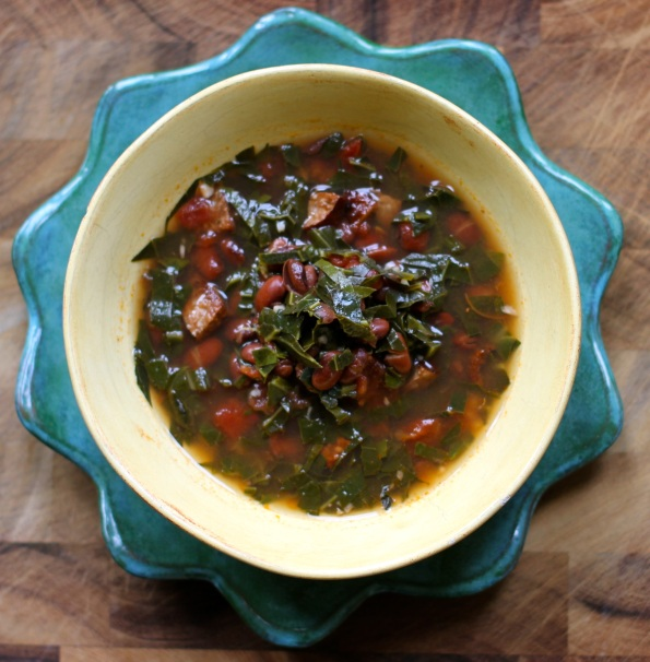 Smoky Beans + Collard Greens Soup with Andouille Sausage