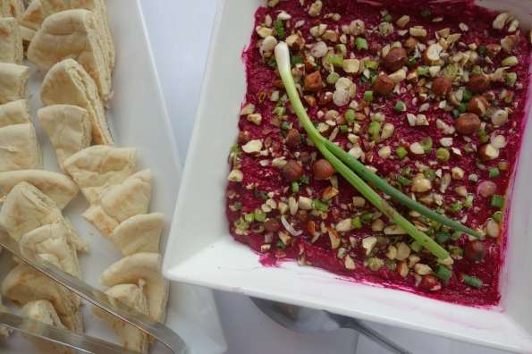 Spiced & Honeyed Beet Dip was one of the recipes featured in a recent class I attended at the Getty Villa.  Beets are considered an aphrodisiac because they can increase blood flow.  They also contain high amounts of boron, which is integral to the production of human sex hormones.