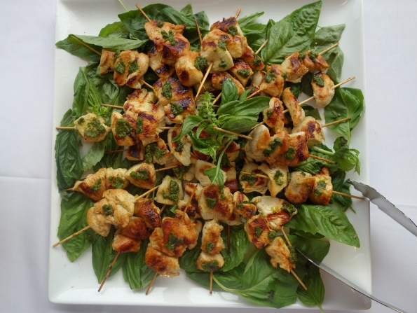 One of the groups in our cooking class created this platter of grilled chicken skewers with basil almond pesto.  Almonds are associated with fertility due to their aroma, which is thought to arouse passion in females.  Basil is also thought to stimulate sex drive and boost fertility, and its scent is used to induce an overall sense of well-being.