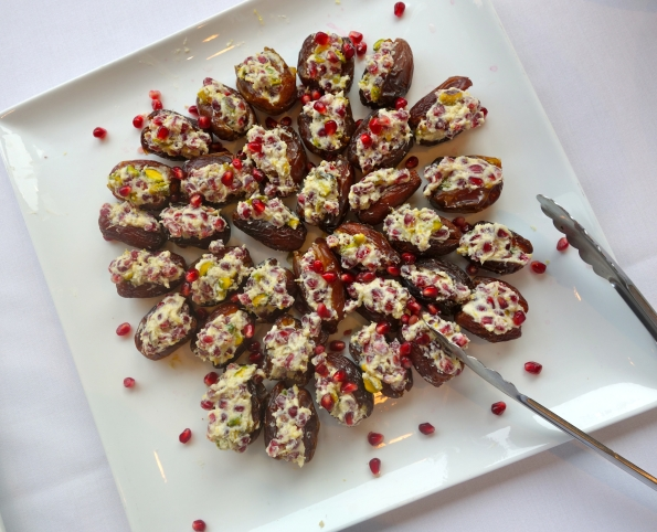 In class we created this delicious platter of dates stuffed with pomegranate arils, pistachios, and mascarpone cheese.  Some say that it was not an apple but a pomegranate that Adam & Eve feasted upon in the Garden of Eden.
